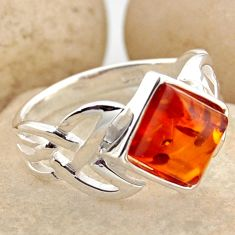 2.81cts natural orange baltic amber 925 silver solitaire ring size 8.5 r15626