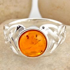 2.32cts natural orange baltic amber 925 silver solitaire ring size 6 r15629