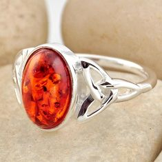 925 silver 3.32cts natural orange baltic amber solitaire ring size 8.5 r15632