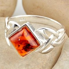 2.97cts natural orange baltic amber 925 silver solitaire ring size 9 r15633