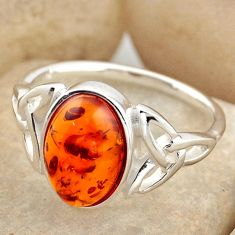 3.31cts natural orange baltic amber 925 silver solitaire ring size 8.5 r15634