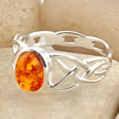 1.73cts natural orange baltic amber 925 silver solitaire ring size 8.5 r15636