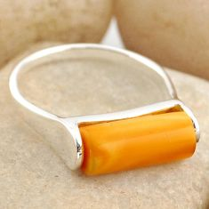 5.54cts natural yellow amber bone 925 silver solitaire ring size 8.5 r15637