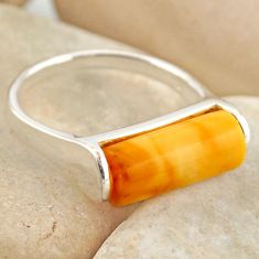 6.19cts natural yellow amber bone 925 silver solitaire ring size 7 r15639