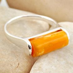 925 sterling silver 5.90cts yellow amber bone solitaire ring size 7.5 r15640