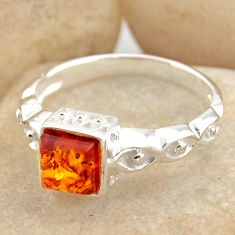 1.04cts natural orange baltic amber 925 silver solitaire ring size 8.5 r15641