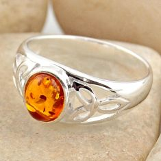 925 silver 1.78cts natural orange baltic amber solitaire ring size 8.5 r15644