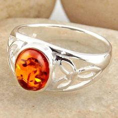 1.66cts natural orange baltic amber 925 silver solitaire ring size 5.5 r15645