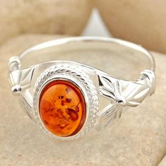 1.74cts natural orange baltic amber 925 silver solitaire ring size 8.5 r15648