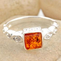 1.04cts natural orange baltic amber 925 silver solitaire ring size 8.5 r15649