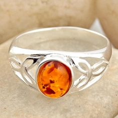 925 silver 1.66cts natural orange baltic amber solitaire ring size 8.5 r15653
