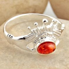 0.87cts natural orange baltic amber 925 silver solitaire ring size 7.5 r15656