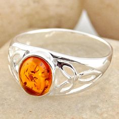 1.66cts natural orange baltic amber 925 silver solitaire ring size 7.5 r15658