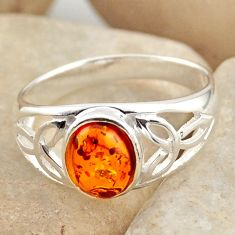 1.59cts natural orange baltic amber 925 silver solitaire ring size 7.5 r15660