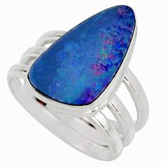 8.03cts natural blue doublet opal australian silver solitaire ring size 8 r15661