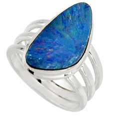 8.42cts natural doublet opal australian silver solitaire ring size 8.5 r15662
