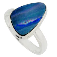 Natural blue doublet opal australian 925 silver solitaire ring size 8.5 r15663