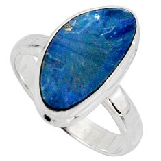 4.47cts natural doublet opal australian silver solitaire ring size 7.5 r15664
