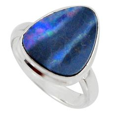 925 silver natural blue doublet opal australian solitaire ring size 6 r15665