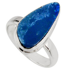 Natural blue doublet opal australian 925 silver solitaire ring size 6.5 r15666