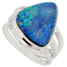 6.02cts natural blue doublet opal australian silver solitaire ring size 8 r15667