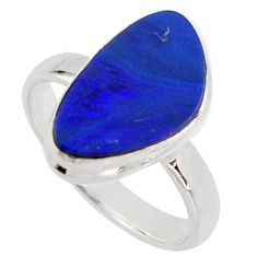 4.46cts natural doublet opal australian silver solitaire ring size 8.5 r15668