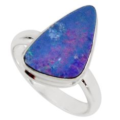 4.51cts natural blue doublet opal australian silver solitaire ring size 8 r15669