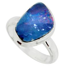 4.52cts natural doublet opal australian silver solitaire ring size 7.5 r15672