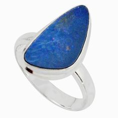 4.30cts natural doublet opal australian silver solitaire ring size 7.5 r15673