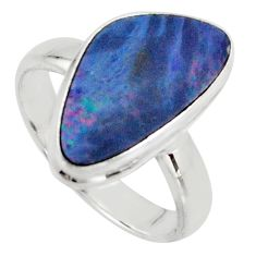 Natural blue doublet opal australian 925 silver solitaire ring size 6.5 r15674