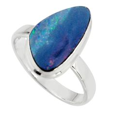 925 silver natural blue doublet opal australian solitaire ring size 9 r15676