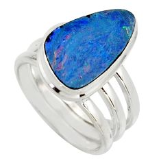 6.54cts natural blue doublet opal australian silver solitaire ring size 7 r15678
