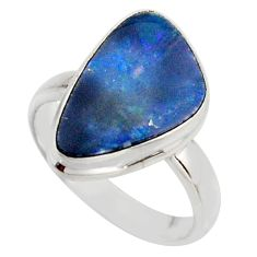 925 silver natural blue doublet opal australian solitaire ring size 6.5 r15679