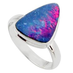 4.51cts natural blue doublet opal australian silver solitaire ring size 9 r15680