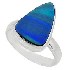 4.30cts natural doublet opal australian silver solitaire ring size 7.5 r15681