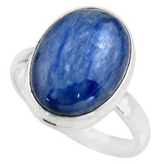9.63cts natural blue kyanite 925 sterling silver solitaire ring size 9 r15702