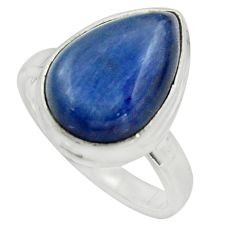 6.01cts natural blue kyanite 925 sterling silver solitaire ring size 6 r15703