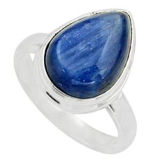 6.33cts natural blue kyanite 925 sterling silver solitaire ring size 7.5 r15707
