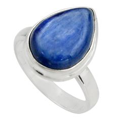6.53cts natural blue kyanite 925 sterling silver solitaire ring size 6.5 r15713