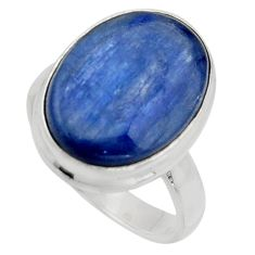 10.17cts natural blue kyanite 925 silver solitaire ring jewelry size 6.5 r15714