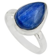 6.30cts natural blue kyanite 925 sterling silver solitaire ring size 9.5 r15717