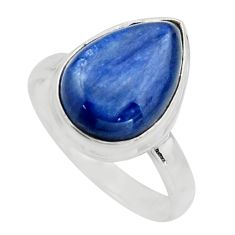 6.04cts natural blue kyanite 925 sterling silver solitaire ring size 7.5 r15718