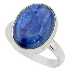 10.57cts natural blue kyanite 925 silver solitaire ring jewelry size 9.5 r15720