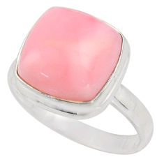 925 sterling silver 6.53cts natural pink opal solitaire ring size 8.5 r15729