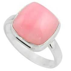 925 sterling silver 6.54cts natural pink opal solitaire ring size 9 r15735