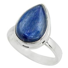 6.04cts natural blue kyanite 925 sterling silver solitaire ring size 7.5 r15738