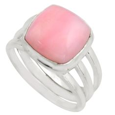 7.33cts natural pink opal 925 sterling silver solitaire ring size 9 r15741