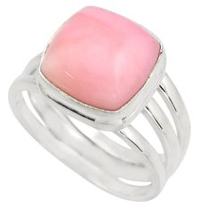 7.09cts natural pink opal 925 sterling silver solitaire ring size 9 r15745