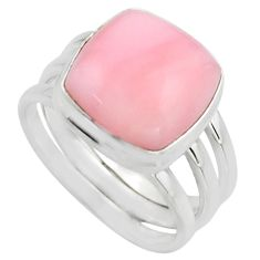 6.76cts natural pink opal 925 sterling silver solitaire ring size 8 r15754
