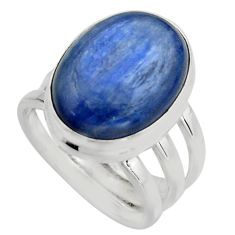 11.05cts natural blue kyanite 925 silver solitaire ring jewelry size 6.5 r15757